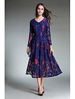 preiswerte -Damen Spitze Swing Kleid-Ausgehen Lässig/Alltäglich Boho Street Schick Jacquard V-Ausschnitt Midi Langärmelige Polyester Herbst Mittlere