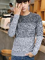 economico -Standard Cardigan Da uomo-Casual Monocolore Rotonda Manica lunga Cotone Autunno Medio spessore Media elasticità