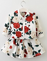 cheap -Girls' Daily Solid Floral Clothing Set,Cotton Spring Fall Long Sleeve Cute Active White