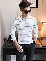 cheap -Men's Casual/Daily Regular Pullover,Striped V Neck Long Sleeves Others Fall Medium Micro-elastic