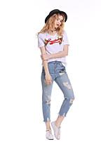 abordables -Tee-shirt Femme,Couleur Pleine Lettre Sortie Mignon Actif Manches courtes Col Arrondi Coton Moyen