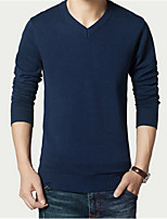 cheap -Men's Daily Regular Pullover,Solid V Neck Long Sleeves Polyester Winter Thick strenchy