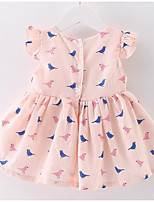Girl's Going out Casual/Daily Solid Print Dress,Cotton Summer Sleeveless Cartoon Street chic Blushing Pink