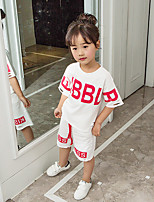 cheap -Girls' Print Letter Clothing Set,Cotton Summer Short Sleeve Simple White Black Red