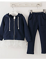 cheap -Girls' Solid Clothing Set,Cotton Spring Fall Long Sleeve Cute Navy Blue