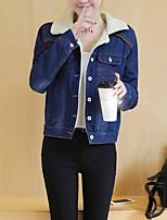 cheap -Women's Casual/Daily Simple Winter Fall Denim Jacket,Solid Shirt Collar Long Sleeve Short Cashmere
