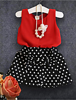 cheap -Girls' Polka Dot Clothing Set,Cotton Polyester Summer Sleeveless Simple Red
