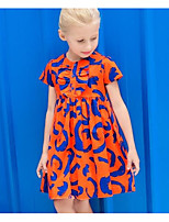 cheap -Girl's Going out Casual/Daily Print Dress,Cotton Summer Short Sleeves Street chic Orange