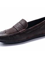 abordables -Hombre Zapatos Cuero Primavera Otoño Confort Zapatos de taco bajo y Slip-On para Casual Negro Café Marrón