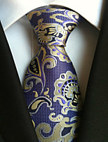 cheap -Men's Polyester Necktie,Work Casual Floral All Seasons Purple