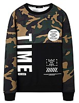 cheap -Men's Plus Size Going out Casual/Daily Simple Sweatshirt Color Block Camouflage Round Neck Without Lining Inelastic Cotton Long Sleeves
