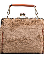 cheap -Women Bags Fur Tote Buttons for Outdoor Office & Career All Season Khaki Gray Blushing Pink Black
