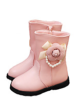 cheap -Girls' Shoes PU Winter Fall Comfort Boots Mid-Calf Boots Imitation Pearl Flower for Casual Pink Red