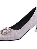 cheap -Women's Shoes PU Winter Basic Pump Comfort Heels Stiletto Heel Round Toe for Dress Silver Black Gold