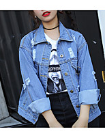 cheap -Women's Going out Simple Fall Denim Jacket,Print Shirt Collar Long Sleeve Regular Cotton Oversized