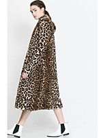 Women's Going out Simple Winter Fall Fur Coat,Leopard V Neck Long Sleeve Long Faux Fur Polyester Oversized
