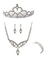 cheap -Women's Headwear Bridal Jewelry Sets Rhinestone Fashion European Wedding Party Imitation Diamond Alloy Body Jewelry 1 Necklace 1 Ring