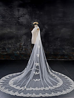 cheap -One-tier Lace Applique Edge Bridal Wedding Wedding Veil Chapel Veils Cathedral Veils 53 Laces Lace Tulle