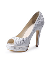 cheap -Women's Shoes Silk Spring Summer Basic Pump Wedding Shoes Cone Heel Peep Toe Rhinestone for Wedding Party & Evening White