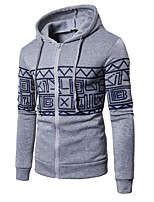 cheap -Men's Plus Size Sports Hoodie Geometric Hooded Micro-elastic Cotton Long Sleeve Winter Spring/Fall