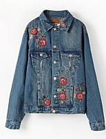economico -Giacca di jeans Da donna Casual Semplice Autunno,Con stampe Colletto Poliestere Standard Maniche lunghe