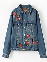 cheap -Women's Casual/Daily Simple Fall Denim Jacket,Print Shirt Collar Long Sleeve Regular Polyester
