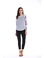 cheap -Women's Daily Casual Spring Fall T-shirt,Striped Floral Color Block Round Neck Long Sleeve Polyester Spandex Medium