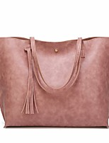 cheap -Women Bags PU leatherette Shoulder Bag Tassel for Casual All Season Brown Coffee Dark Green Gray Blushing Pink