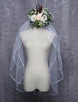 cheap -Three-tier Ribbon Edge Bridal Wedding Wedding Veil Elbow Veils 53 Bead Tulle