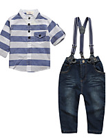 cheap -Boys' Daily Sports Striped Clothing Set,Cotton All Seasons Long Sleeve Casual Street chic Blue