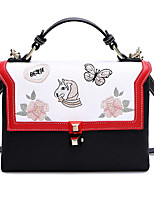 cheap -Women Bags PU Polyester Tote Embroidery for Casual All Season Black/White