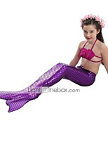 cheap -The Little Mermaid Swimwear Bikini Kid Christmas Masquerade Festival / Holiday Halloween Costumes Purple Blue Solid
