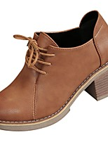 Недорогие -Для женщин Обувь Полиуретан Зима Осень Удобная обувь Модная обувь Ботинки На толстом каблуке Круглый носок Ботинки для Повседневные