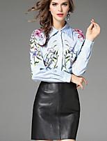 Camicia Da donna Quotidiano Casual Con stampe Colletto Poliestere Maniche lunghe
