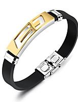 cheap -Men's Bracelet ID Bracelets , Fashion Rock Silica Gel Titanium Steel Geometric , Jewelry Daily Street