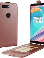 abordables -Funda Para OnePlus OnePlus 5T 5 Soporte de Coche Flip Funda de Cuerpo Entero Color sólido Dura Cuero de PU para One Plus 5 OnePlus 5T