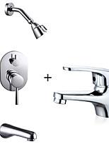 cheap -Contemporary Tub And Shower Rain Shower Ceramic Valve Single Handle One Hole Chrome , Bathtub Faucet
