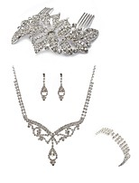 preiswerte -Damen Haarkämme Braut-Schmuck-Sets Strass Europäisch Modisch Hochzeit Party Diamantimitate Aleación Körperschmuck 1 Halskette 1 Ring