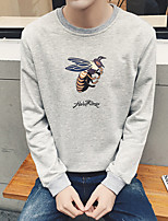 cheap -Men's Going out Sweatshirt Print Round Neck Micro-elastic Polyester Long Sleeve Fall/Autumn