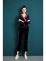 cheap -ZIYI Women's Daily Vintage Casual Spring Fall Set Pant SuitsSolid V-neck Short Sleeve Polyester Inelastic