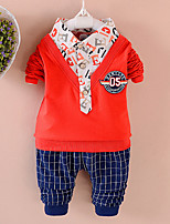 cheap -Boys' Daily Going out Solid Cartoon Clothing Set,Cotton All Seasons Long Sleeve Cute Casual Active Blue Orange