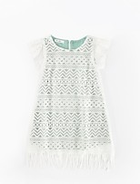 Girl's Casual/Daily Solid Dress,Polyester Spring Summer Short Sleeves Simple White
