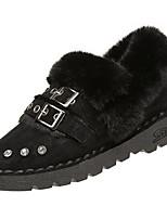 Недорогие -Для женщин Обувь Бархатистая отделка Полиуретан Зима Осень Удобная обувь Зимние сапоги Ботинки На низком каблуке Круглый носок Ботинки для