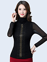 cheap -Women's Daily Casual T-shirt,Solid Turtleneck Long Sleeve Cotton Polyester