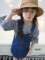 cheap -Girls' Color Block Clothing Set,Cotton Spring Fall Long Sleeve Blue
