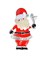 abordables -Mujer Broche Circonita Bonito Dibujos Europeo Zirconio Legierung Papá Noel Joyas Para Navidad Bar