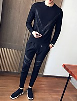 cheap -Men's Petite Casual/Daily Simple Set Solid Print Round Neck Without Lining Micro-elastic Polyester Long Sleeve Autumn/Fall