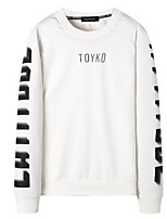 cheap -Men's Petite Going out Casual/Daily Street chic Sweatshirt Letter Round Neck Without Lining Micro-elastic Cotton Polyester Long Sleeves
