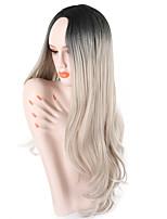 abordables -Mujer Pelucas sintéticas Largo Ondulado Rizado Gris Raya en medio Pelo Ombre Peluca natural Peluca de fiesta Peluca de celebridades