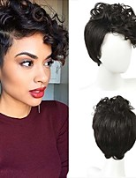 cheap -Women Synthetic Wig Short Curly Wavy Black Side Part African American Wig Pixie Cut Asymmetrical Haircut With Bangs Party Wig Celebrity